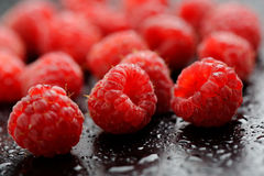 Raspberry. Closeup of fresh raspberries after rain Stock Photography