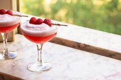 Raspberry Clover Club Cocktails with Foam in Window stock image