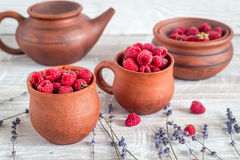 Raspberry composition in pottery with dry lavender rustic background Stock Photos