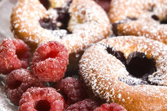 Raspberry cookies with fresh fruits Stock Photography
