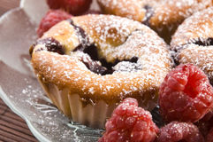 Raspberry cookies with fresh fruits Royalty Free Stock Photo