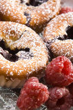 Raspberry cookies with fresh fruits Royalty Free Stock Images