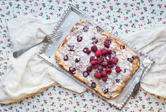 Raspberry cottage cheese cake with fresh raspberries, almond pet. Als and sugar powder on a silver tray over a flower pattern table cloth Stock Image