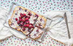 Raspberry cottage cheese cake with fresh raspberries, almond pet. Als and sugar powder on a silver tray over a flower pattern table cloth Stock Photos
