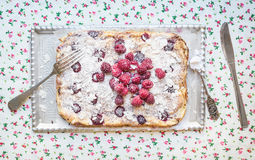 Raspberry cottage cheese cake with fresh raspberries, almond pet. Als and sugar powder on a silver tray over a flower pattern table cloth Royalty Free Stock Photo