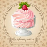 Raspberry cream badge Royalty Free Stock Images