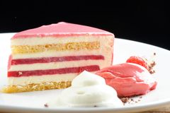 Raspberry cream cake. With ice cream Stock Photography