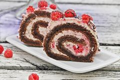 Raspberry Cream Chocolate Roll royalty free stock image