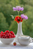 Raspberry, cream and flowers. On the window of the raspberries in a bowl, cream in the creamer and a bouquet of flowers. On green background berries with cream Stock Photos