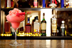 Raspberry-cream smoothie. On the background of the bar Royalty Free Stock Image