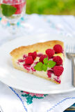 Raspberry Cream Tart, copy space for your text Stock Images