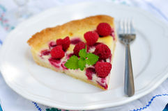 Raspberry Cream Tart Stock Photos