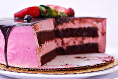 Raspberry Creme Chocolate Cake Royalty Free Stock Photos