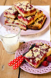 Raspberry crumb bars Stock Photos