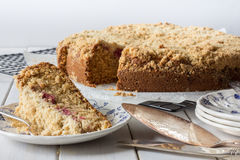 Raspberry Crumble Cake Front Horizontal Stock Photos