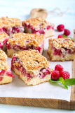 Raspberry crumble cake. Slices, selective focus royalty free stock photography