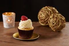 Raspberry cupcake on Christmas background Stock Photos