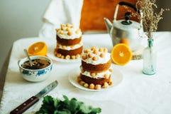 Raspberry Cupcake. Closeup of a cream cake covered with raspberr Stock Photography