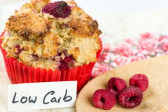 Raspberry cupcake on diet: sweets with low carb cooking Stock Photos
