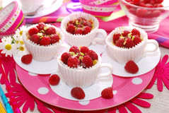 Raspberry cupcakes in tea cup shape molds Royalty Free Stock Image