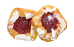 Raspberry danish pastries on a white background top view Royalty Free Stock Photo
