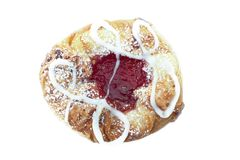 Raspberry Danish Pastry On White Backgrond. Freshly baked single raspberry danish pastry isolated on white background stock photo