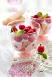 Raspberry dessert. With cream  and biscuits in glasses Stock Photos