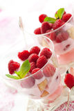 Raspberry dessert. With cream  and biscuits in glasses Royalty Free Stock Photo