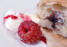 Raspberry dessert. Sweet dessert with raspberry, croissant and ice cream Royalty Free Stock Photography