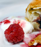 Raspberry dessert. Sweet dessert with raspberry, croissant and ice cream Stock Images