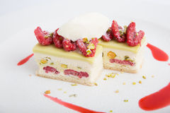 Raspberry dessert cake. With icecream and pistachios Stock Photography