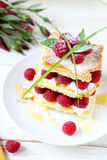 Raspberry dessert with cream air, millefeuille Stock Photos