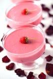Raspberry dessert with cream cheese. Fresh raspberry dessert with cream cheese Stock Photo