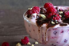 Raspberry dessert with fresh berries, chocolate, yogurt and granola. Healthy breakfast. close up Royalty Free Stock Photos