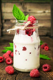 Raspberry dessert in a glass jar Royalty Free Stock Photography