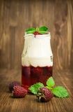 Raspberry dessert with jelly and cream Stock Image