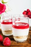 Raspberry dessert from whipped white chocolate mousse and raspbe. Raspberry dessert from whipped white chocolate mousse, raspberry puree as jelly, and base from Royalty Free Stock Photography