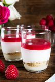 Raspberry dessert from whipped white chocolate mousse and raspbe. Raspberry dessert from whipped white chocolate mousse, raspberry puree as jelly, and base from Royalty Free Stock Image