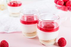 Raspberry dessert from whipped white chocolate mousse and raspbe. Raspberry dessert from whipped white chocolate mousse, raspberry puree as jelly, and base from Royalty Free Stock Photo