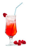 Raspberry drink. Fresh raspberry cocktail  on a white background Royalty Free Stock Images