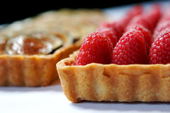 Raspberry and Fig tarts. In sun light Royalty Free Stock Images