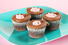 Raspberry filled chocolate cupcakes upclose Royalty Free Stock Photo
