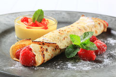 Raspberry-filled crepe Stock Image