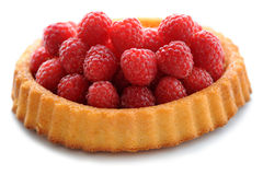 Raspberry Flan. Isolated against a white background stock photos