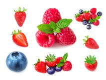 Raspberry. Fresh Berries mix isolated on white background. Set o. F Ripe raspberries, strawberry and blueberries. Collection Stock Image