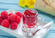 Raspberry fresh and jam Stock Images