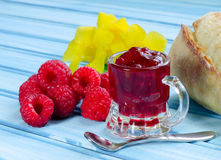 Raspberry fresh and jam Royalty Free Stock Images
