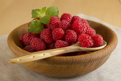 Raspberry. Fresh raspberry in a wooden bowl Stock Image