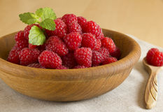 Raspberry. Fresh raspberry in a wooden bowl Stock Photography