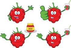 Raspberry Fruit Cartoon Mascot Character Set 4. Collection Royalty Free Stock Image